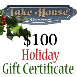 Lake House Restaurant $100 Holiday Themed Paper Gift Certificate - Buy It Now
