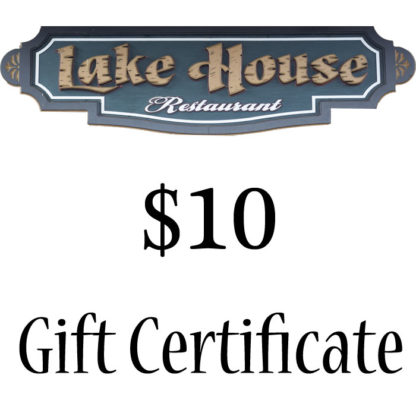 Lake House Restaurant $10 Paper Gift Certificate - Buy It Now