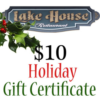 Lake House Restaurant $10 Holiday Themed Paper Gift Certificate - Buy It Now