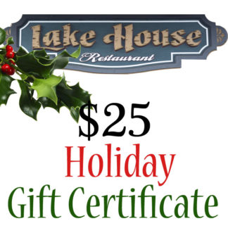 Lake House Restaurant $25 Holiday Themed Paper Gift Certificate - Buy It Now