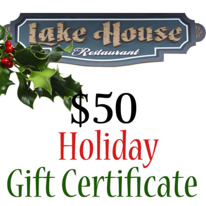 Lake House Restaurant $50 Holiday Themed Paper Gift Certificate - Buy It Now